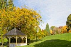 Pavillion in gardens. A pavillion in the Hobart Botanical Gardens on an autumn day Stock Photos