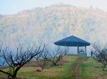 Pavillion on hill and tourist Stock Photo