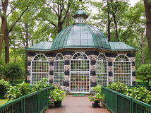 A pavillion for keeping exotic and singing birds in Peterhof in Saint Petersburg, Russia. Royalty Free Stock Image