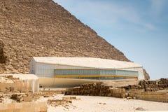 Pavillion with Khufu ship Royalty Free Stock Photos