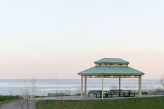 Pavillion near Oakville at Lake Ontario with beautiful pastell c. Olors during sunset stock photos