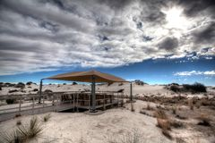 Picnic pavillion at White Sands National Monument New Mexico. Pavillion for picnics and rest from the New Mexico sun in White Sands National Monument stock photography