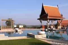 Pavillion beside pool Royalty Free Stock Photography