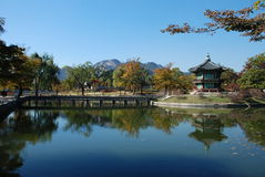 Pavillion and scenery at Korean palace. Royalty Free Stock Photo