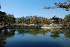 Pavillion and scenery at Korean palace. Royalty Free Stock Photo