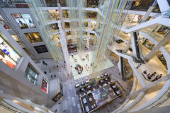 People in a shopping mall. Birdview of the Center of the Pavillion Shopping Mall,Kuala Lumpur, Malaysia Stock Photo