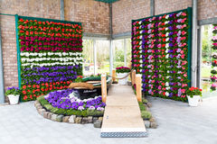 Pavillion view with boat and flowers in Keukenhof, Lisse, Netherlands Royalty Free Stock Photos