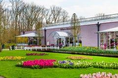 Pavillion Willem Alexander och blommatulpan blomstrar i holländare parkerar Keukenhof, Lisse, Holland Royaltyfri Fotografi