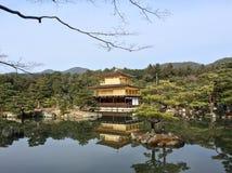金黄pavillion,寺庙Kinkakuji在京都,日本 图库摄影