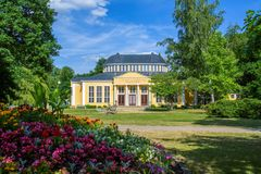Pavillon avec des ressorts d'eau minérale - ville de Bohème occidentale Frantiskovy Lazne Franzensbad de station thermale - Répub Photos libres de droits