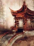 Pavillon avec les vignes automnales photo stock