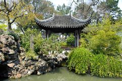 Pavillon bei Lion Grove Garden, Suzhou, China stockbilder