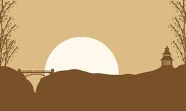 Pavillon de paysage de collection et pont des silhouettes Photos stock