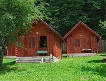 Pavillon en bois dans le camping photographie stock