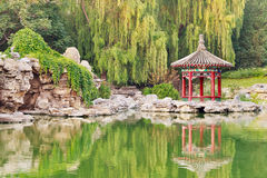 Pavillon fleuri reflété dans le lac, parc de Ritan, Pékin, Chine image stock