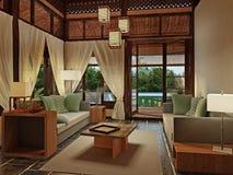 Pavillon romantique avec le pool privé et les vues superbes Photos libres de droits