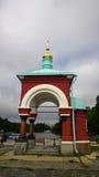 Pavillon sur le rivage au pilier de l'île de Valaam images libres de droits