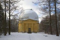 Pavillon 26-Zoll-Refraktor des astronomischen Observatoriums Pulkovo St Petersburg, Russland Lizenzfreie Stockbilder