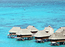 Pavillons d'Overwater au Tahiti Image stock