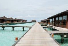 Pavillons de l'eau, Maldives Photographie stock libre de droits