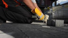 Pavimentación del ladrillo Trabajador caucásico que pavimenta la trayectoria del jardín metrajes