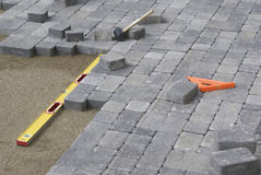 Pavimentación del patio del patio trasero Imagen de archivo