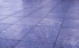Pavimentazione bagnata delle mattonelle nel parco al giorno piovoso fondo, decorazione fotografie stock libere da diritti