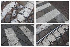 Pavimentazione Ciottolo, pavimentazione, carreggiata, pavimentante nell'area del passaggio pedonale Immagini Stock Libere da Diritti