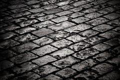Pavimentazione del blocco nella nerezza Fotografia Stock