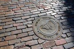 Pavimentazione del brics nella vecchia città di Tampa del centro città, a Centro Ybor Immagini Stock Libere da Diritti