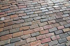 Pavimentazione del brics nella vecchia città di Tampa del centro città, a Centro Ybor Fotografie Stock Libere da Diritti