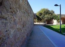 Pavimentazione lungo un'alta parete di pietra Immagini Stock