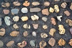 Pavimentazione variopinta della pietra del ciottolo strutturata Immagine Stock