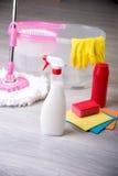 Pavimenti di lavaggio, pulizia l'appartamento Fotografia Stock Libera da Diritti