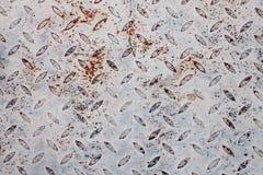 Pavimento arrugginito bianco del piatto d'acciaio immagini stock libere da diritti