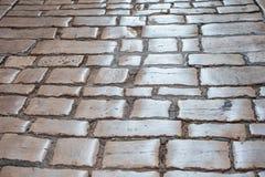 Pavimento de pavimentação de pedra do teste padrão da cidade velha foto de stock royalty free