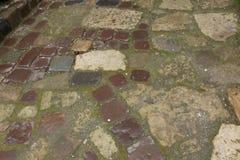Pavimento de pedra molhado moído no dia chuvoso Fotos de Stock