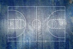 Pavimento del campo da pallacanestro con la linea sul fondo di lerciume Immagini Stock Libere da Diritti