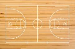 Pavimento del campo da pallacanestro con la linea sul pavimento di legno Immagine Stock Libera da Diritti