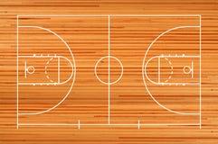 Pavimento del campo da pallacanestro con la linea sul pavimento di legno Immagine Stock