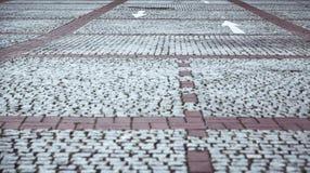 Pavimento del guijarro con las flechas blancas Imagen de archivo libre de regalías