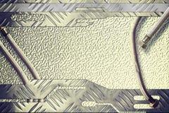 Pavimento di alluminio di stile del modello di struttura con il tubo del metallo Fotografia Stock Libera da Diritti