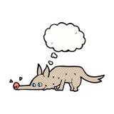 pavimento di fiuto del cane del fumetto con la bolla di pensiero Fotografie Stock Libere da Diritti