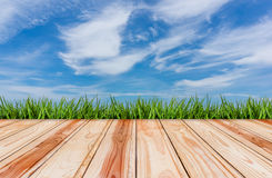 pavimento di legno con il fondo del cielo blu e dell'erba Immagine Stock Libera da Diritti