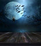Pavimento di legno con il fondo di Halloween Fotografie Stock Libere da Diritti