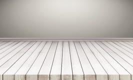 Pavimento di legno con la parete grigia fondo vuoto interno dello spazio immagini stock