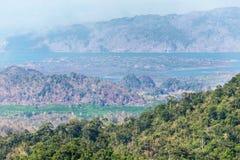 Pavimento di legno del terrazzo del balcone sull'alta montagna tropicale di punto di vista della foresta pluviale Fotografie Stock