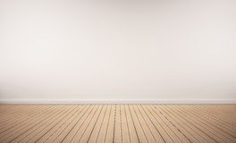 Pavimento di legno di quercia con la parete bianca fotografie stock