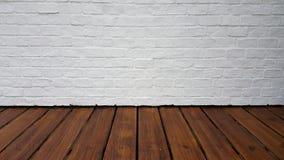Pavimento di legno duro e parete bianca Fotografie Stock Libere da Diritti