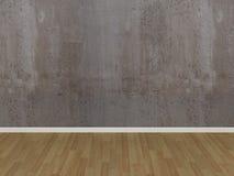 Pavimento di legno e del muro di cemento in una stanza vuota Immagini Stock